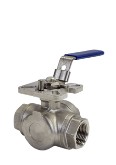 1000 WOG 3-way Stainless Steel Ball Valve B07 from Flow+ Image