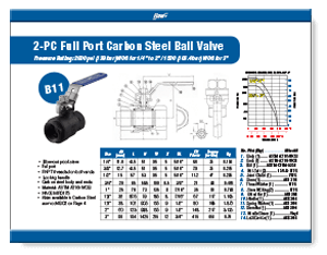 2000 WOG 2-piece Carbon Steel Ball Valve B11 from Flow+ Brochure