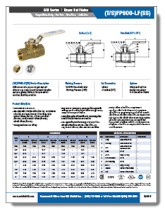 600 WOG NPT 2-piece Lead Free Brass Ball Valve tfp600lf from NCI Canada Brochure