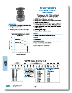 Class 125 Cast Iron Foot Valve from SSI Brochure