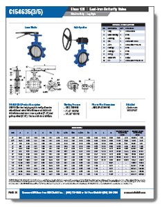 Class 125 Lug Cast Iron Resilient Seated Butterfly Valve from NCI Canada Brochure