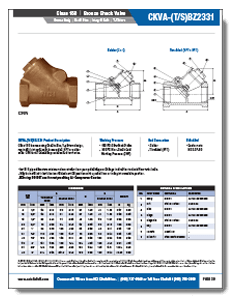 Class 150 Bronze Swing Check Valve from NCI Canada Brochure