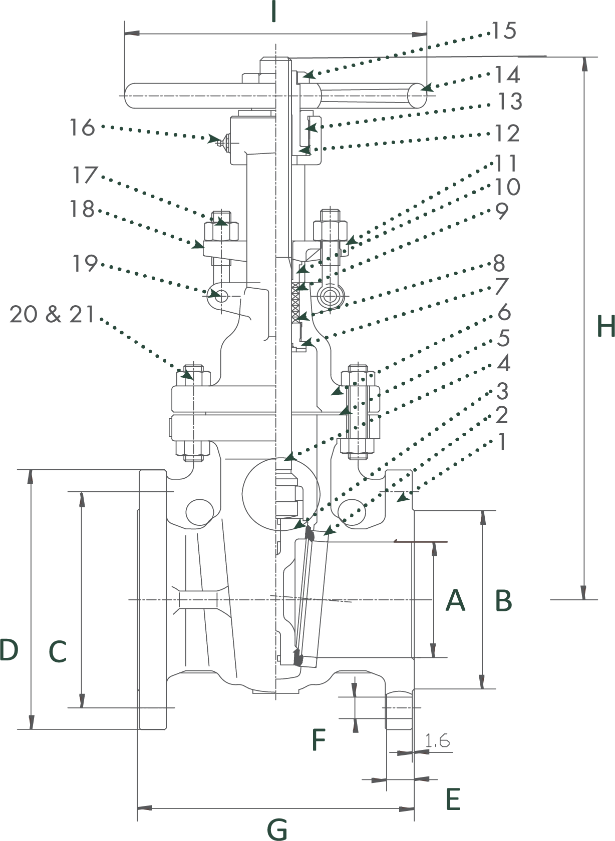 Class 150 Cast Carbon Steel Gate Valve from Sharpe Technical Drawing