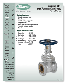 Class 150 Cast Carbon Steel Gate Valve from Sharpe Brochure