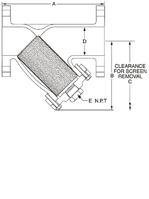 Class 150 Flanged Bronze Y-Strainer from SSI Technical Drawing