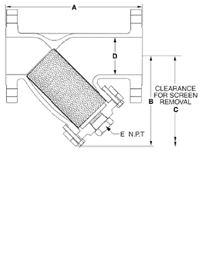 Class 150 Flanged Stainless Steel Y-Strainer from SSI Technical Drawing
