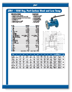 Class 150 1-Piece Low Temperature Carbon Steel Ball Valve ZR1 from Flow+ Brochure