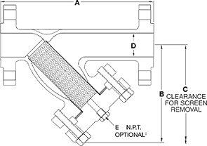 Class 1500 FLG Carbon Steel Y-Strainer from SSI Technical Drawing