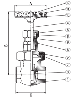Class 300 Bronze Non Rising Stem Union Bonnet Gate Valve from NCI Canada Technical Drawing