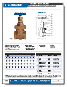 Class 300 Bronze Non Rising Stem Union Bonnet Gate Valve from NCI Canada Brochure