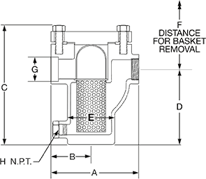 Class 300 Carbon Steel Basket Strainer from SSI Technical Drawing