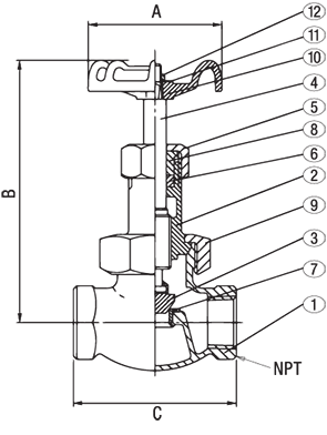 Class 300 SS Disc Bronze Globe Valve from NCI Canada Technical Drawing