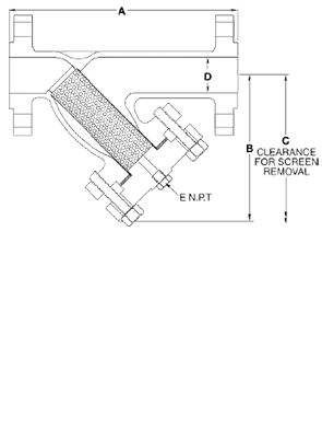 Class 600 FLG Stainless Steel Y-Strainer from SSI Technical Drawing